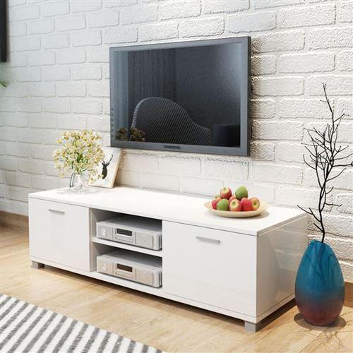Meuble tv à haute brillance blanc 140 x 40,3 x 34,7 cm