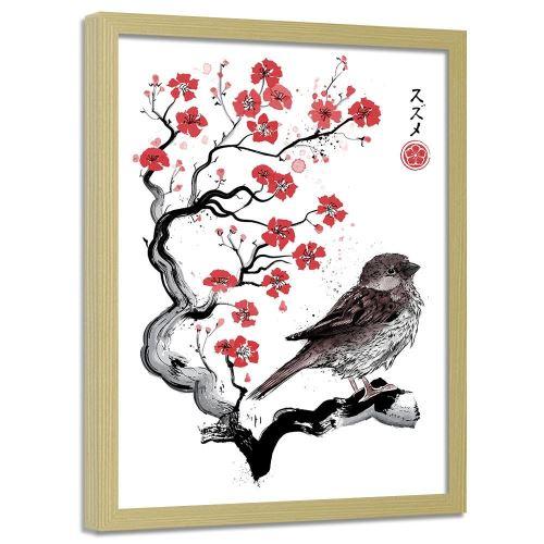 Feeby Impression art Tableau moderne cadre nature Image encadrée, Moineau sur ceriser japonais 70x100 cm