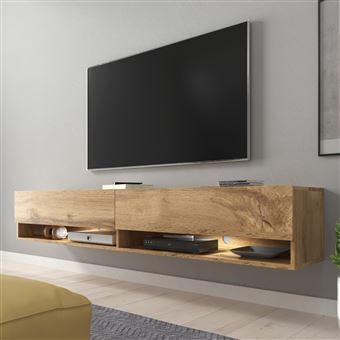 Meuble Tv Meuble De Salon Wander 180 Cm Avec Led Chene Wotan 2 Niches Ouvertes Forme Minimaliste