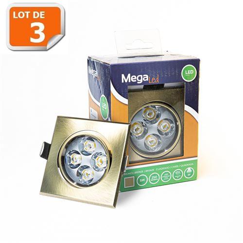 Lot 3 Spots encastrables LED amovibles Bronze 5W - Equivalent 50W - Mega Led CLISB50W