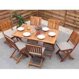 Beliani - Salon de jardin Table et 6 chaises en bois marron Cento