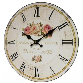 L 39 h ritier du temps horloge murale pendule ronde de cuisine ou salon en bois et papier maison - Pendule de cuisine ...