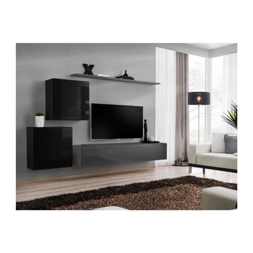 Ensemble meuble salon SWITCH V design, coloris gris et noir brillant.