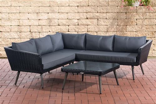 Canapé d'angle Skara Noir en polyrotin plat , Gris fonte/40 cm (Dunkelgrau)
