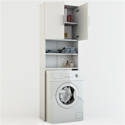 Meuble de buanderie pour machine à laver Jeany - L. 64 x H. 190 cm - Blanc