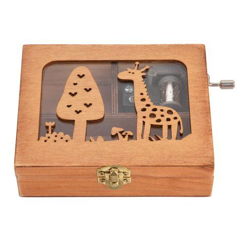 Boîte à musique à manivelle en bois Girafe