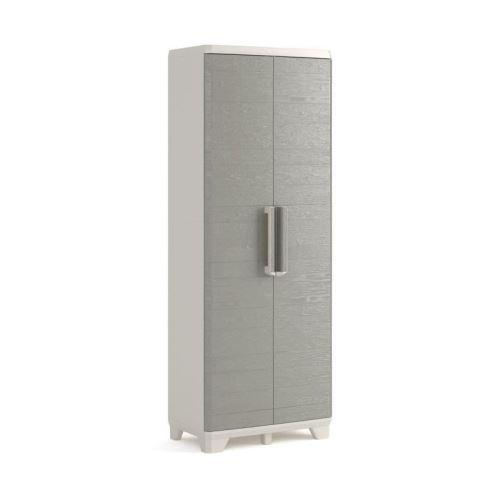 KETER Armoire haute de rangement - Wood Grain - Texture bois - 2 portes - 3 étageres - pieds ajustables -