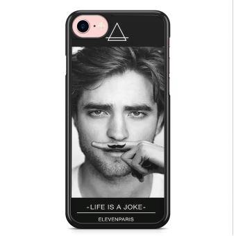 Coque iPhone 7 et iPhone 8 Robert Pattinson Life is a joke Moustache Eleven Paris