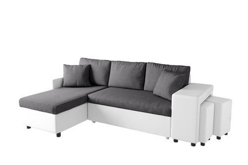 canapé d'angle oslo convertible gris/blanc avec coffre et poufs