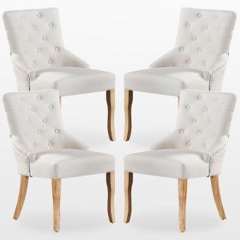 KENSINGTON Lot de 4 Chaises Capitonnées en Tissu Beige Pieds en Bois Design & Classique Salle à Manger, Salon ou Chambre