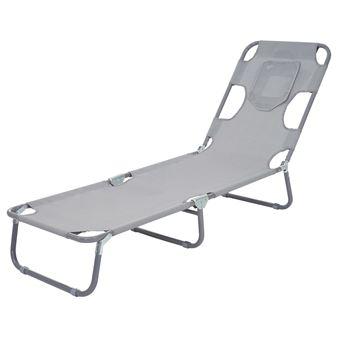 chaise longue de jardin hwc b11 transat bain de soleil fonction position sur le ventre tissu pliable gris mobilier de jardin achat prix fnac - Chaise Longue Jardin