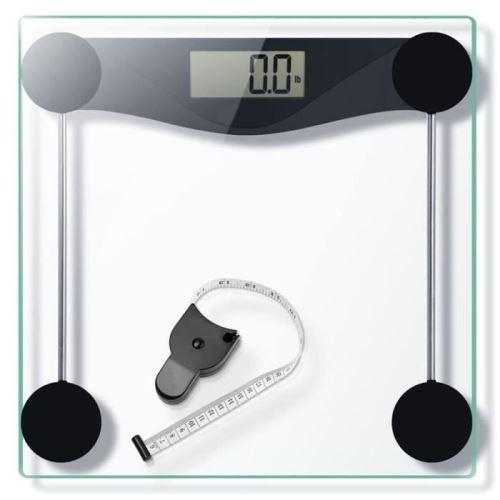 Pèse-personne Numérique 180kg/400lb en Verre, Haute Précision Balance de Salle De Bain Avec Ruban à Mesurer, Etape-on/Arrêt-auto