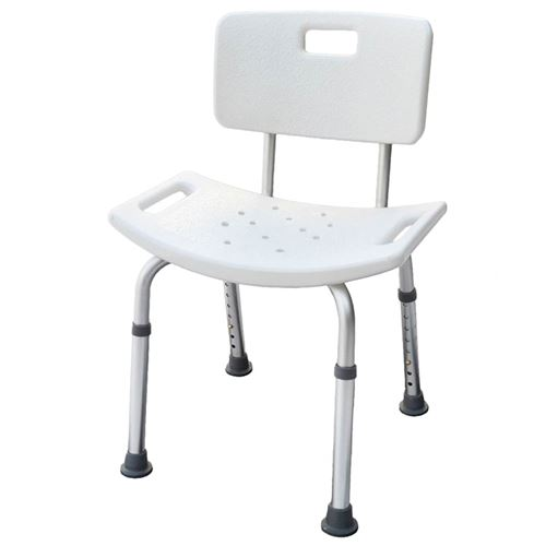 Parcura Siège de bain réglable avec dossier Blanc 120 kg 52 cm 84820