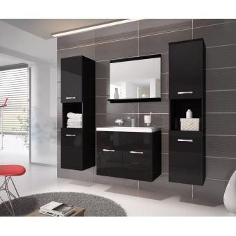 Meuble de salle de bain montr al xl 60 cm lavabo noir brillant armoire de rangement meuble - Meuble sous lavabo noir ...