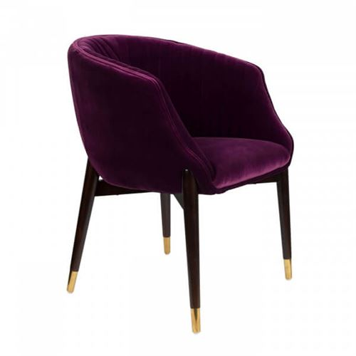 DOLLY - Chaise confortable velours prune