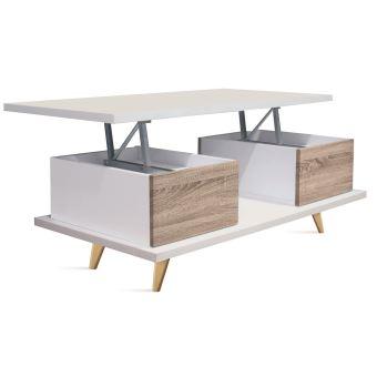Table Basse Relevable En Bois Coloris Blanc Cambrian Dim L 100