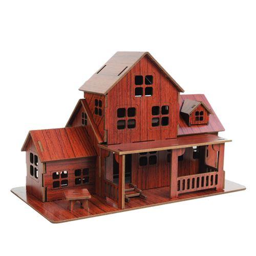 Puzzle 3D en bois maison villa pour enfants - Multicolore