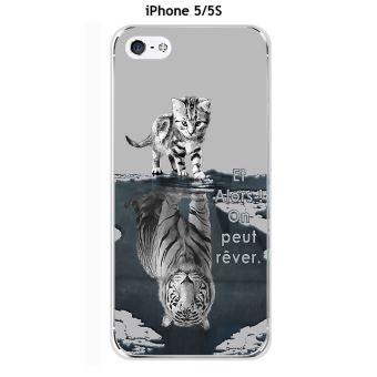 Coque Apple iphone 5 5S 5SE design Chat Tigre Blanc fond gris Et Alors