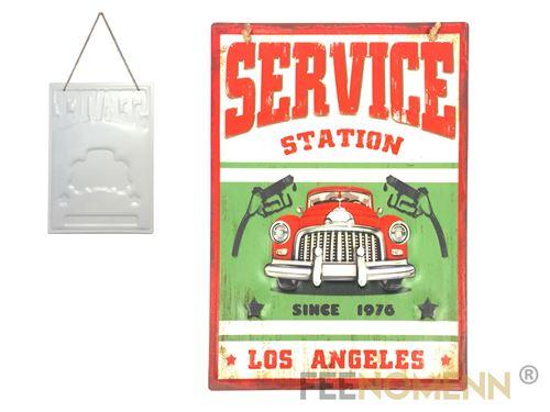plaque métal déco vintage - effet relief - station service los angeles (30x40cm)