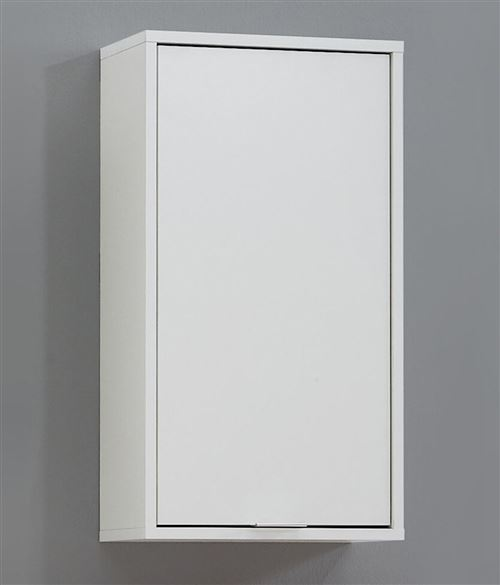 Meuble haut de salle de bain coloris blanc - L.37 x H.68 x P.17 cm -PEGANE-