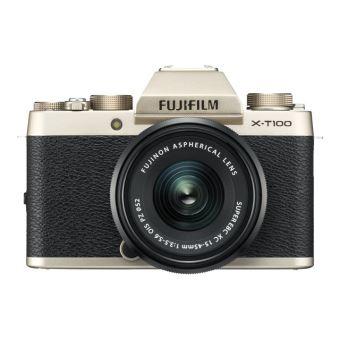Fujifilm X Series X-T100 - Appareil photo numérique - sans miroir - 24.2 MP - APS-C - 4K / 15 pi/s - 3x zoom optique - Fujinon objectif XC 15-45 mm OIS PZ - Wi-Fi, Bluetooth - champagne