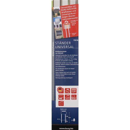 Acier Inoxydable BURG-W/ÄCHTER Blanc Avec 2 poteaux Pieds pour bo/îte aux Lettres Universal 150 W 150cm de long