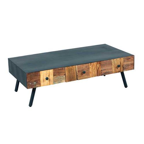 Table basse 3 tiroirs Acier noir/Bois massif - CHALERSTON