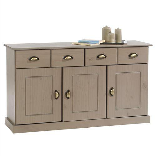 Buffet PARIS commode bahut vaisselier avec 3 portes battantes et 2 tiroirs pin massif lasuré taupe