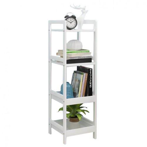 MSTORE   Étagère haute en bois bibliothèque support 4 tablettes style scandinave salon/chambre/salle de bain   100x30x29 cm   Blanc