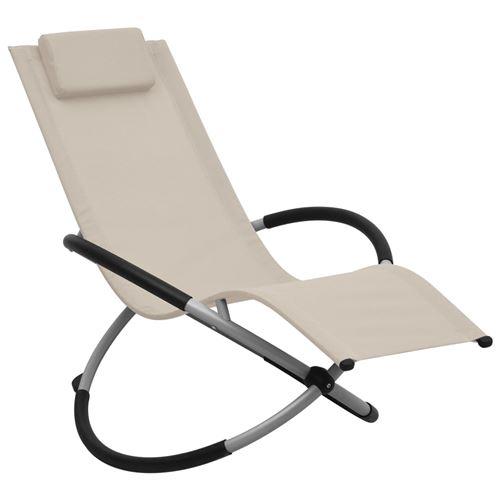 Chaise longue pour enfants Acier Crème 47794