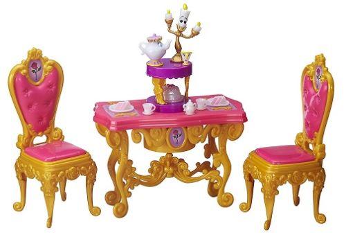 La salle à manger de belle c'est la fête - disney princesse - accessoires poupées la belle et la bête