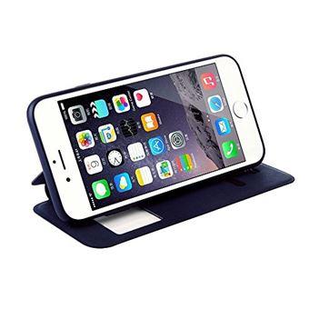 Nouske Étui en Cuir pour iPhone 6 6S, à Rabat Folio S View avec fenêtre Cover Coque TPU, avec Support Protection intégrale, Bleu Marin.