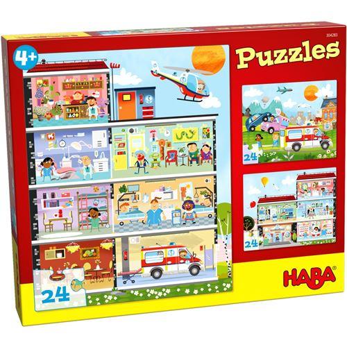 Haba puzzle enfant le petit hôpital 3 puzzles 24 pièces