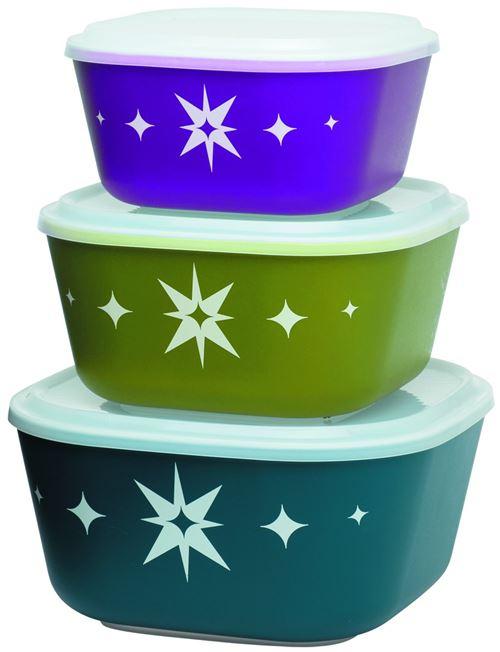Aladdin 953006 Set de 3 Saladiers avec Couvercle Plastique Bleu/Violet/Vert 1,7 l + 2,8 l + 4,3 l
