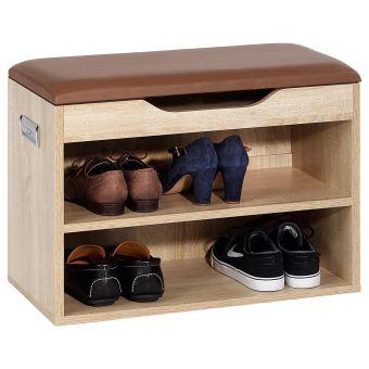 f8415d54b9d509 Banc de rangement meuble à chaussures ZAPATO MDF mélaminé 2 étagères avec  assise chêne sonoma - Achat   prix   fnac