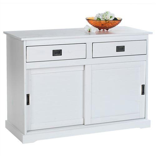 Buffet SAVONA en pin massif, 2 tiroirs et 2 portes, lasuré blanc
