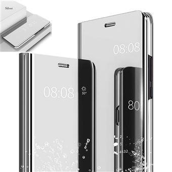 Etui Housse Samsung Galaxy A8 Clear Miroir coque transparent folio Argent