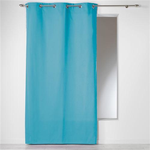 Rideau a oeillets 140 x 240 cm coton uni panama Bleu