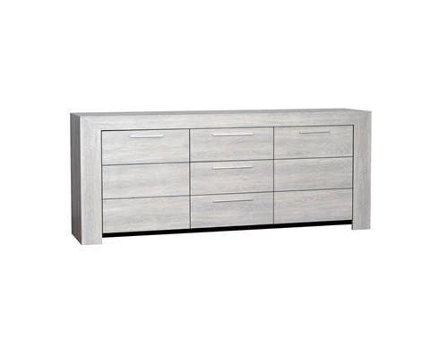 Buffet bahut couleur chêne gris 3 portes contemporain SANDRA-L 220 x P 50 x H 90 cm- Gris