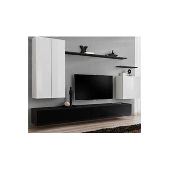Meuble Tv Mural Design Switch Ii 270cm Blanc Noir
