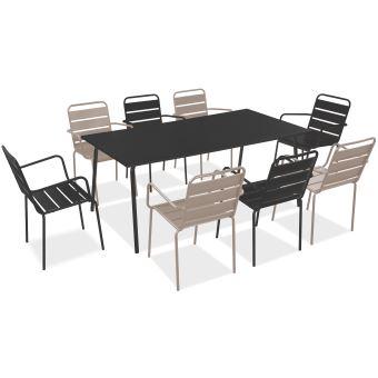 Salon de jardin en métal 1 table et 8 fauteuils, Palavas - Beige ...