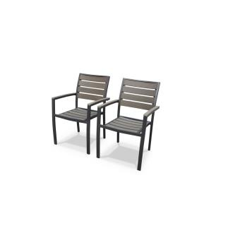 Lot de 2 fauteuils Seattle en aluminium et bois composite ...