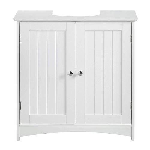 Meuble Sous Lavabo OOBEST® 2 Portes Battantes et 2 Casiers, Blanc