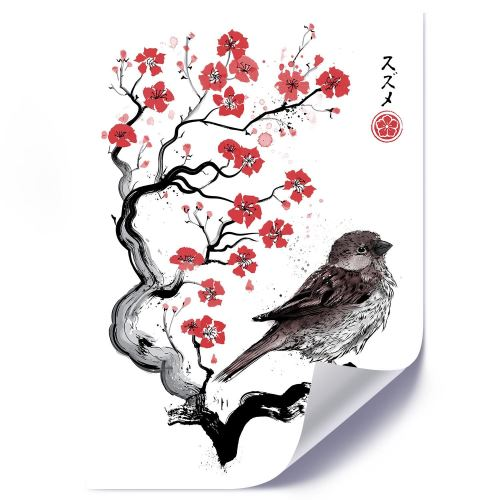 Feeby Affiche Décoration murale Poster Image moderne, Moineau sur ceriser japonais 50x70 cm