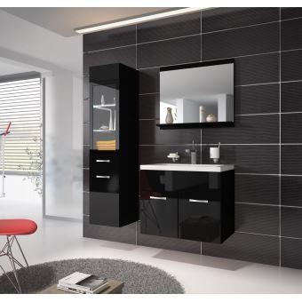 Meuble de salle de bain Rio LED 60 cm lavabo Noir brillant - Armoire de  rangement Meuble lavabo
