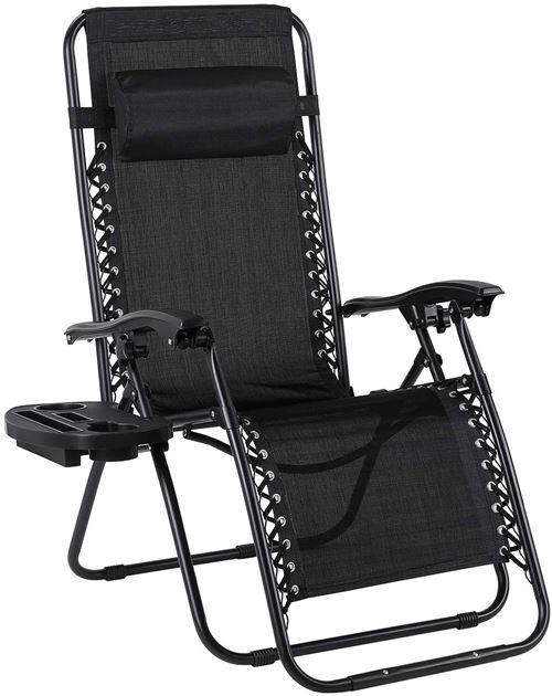 Chaise longue pliante, FLYCCC,avec porte-gobelet et appui-tête réglable, chaise longue / chaise de jardin ergonomique et respirante avec structure en acier, noir