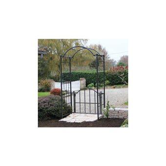 L\'Héritier Du Temps - Arche portillon classic garden portail arche à  rosiers de jardin en fer forgé marron martelé ou gris anthracite  71x120x228cm