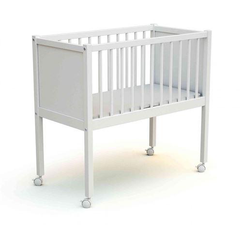 Berceau bébé à roulettes en bois laqué blanc 40x80