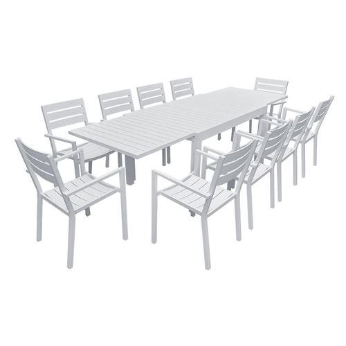 Salon de jardin VENEZIA extensible 132/264 en aluminium blanc - 10 places