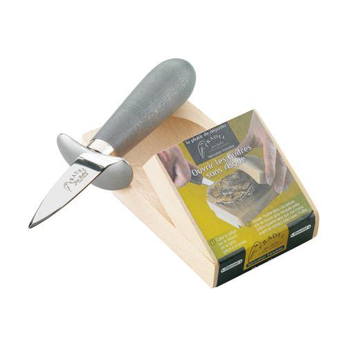 Couteau à huître en bois teinté avec cale - Jean Dubost - Gris - Inox